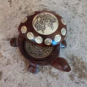 Other - Carved wood inlaid turtle compass